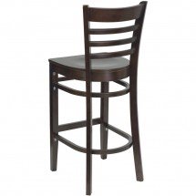 Flash Furniture XU-DGW0005BARLAD-WAL-GG HERCULES Series Walnut Finished Ladder Back Wooden Restaurant Bar Stool addl-1