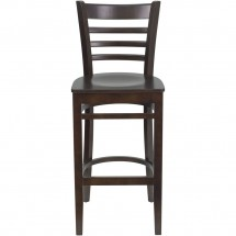 Flash Furniture XU-DGW0005BARLAD-WAL-GG HERCULES Series Walnut Finished Ladder Back Wooden Restaurant Bar Stool addl-2