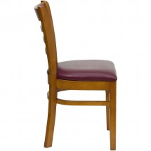 Flash Furniture XU-DGW0005LAD-CHY-BURV-GG HERCULES Series Cherry Finished Ladder Back Wooden Restaurant Chair - Burgundy Vinyl Seat addl-1