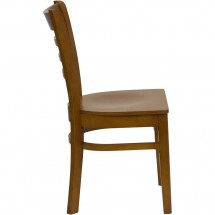 Flash Furniture XU-DGW0005LAD-CHY-GG HERCULES Series Cherry Finished Ladder Back Wooden Restaurant Chair addl-1