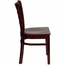 Flash Furniture XU-DGW0005LAD-MAH-GG HERCULES Series Mahogany Finished Ladder Back Wooden Restaurant Chair addl-1