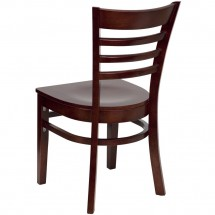 Flash Furniture XU-DGW0005LAD-MAH-GG HERCULES Series Mahogany Finished Ladder Back Wooden Restaurant Chair addl-2