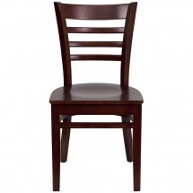 Flash Furniture XU-DGW0005LAD-MAH-GG HERCULES Series Mahogany Finished Ladder Back Wooden Restaurant Chair addl-3