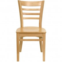 Flash Furniture XU-DGW0005LAD-NAT-GG HERCULES Series Natural Wood Finished Ladder Back Wooden Restaurant Chair addl-3