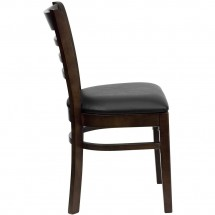 Flash Furniture XU-DGW0005LAD-WAL-BLKV-GG HERCULES Series Walnut Finished Ladder Back Wooden Restaurant Chair - Black Vinyl Seat addl-2