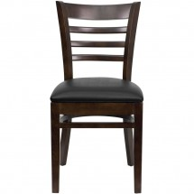 Flash Furniture XU-DGW0005LAD-WAL-BLKV-GG HERCULES Series Walnut Finished Ladder Back Wooden Restaurant Chair - Black Vinyl Seat addl-3