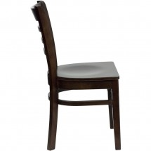 Flash Furniture XU-DGW0005LAD-WAL-GG HERCULES Series Walnut Finished Ladder Back Wooden Restaurant Chair addl-2