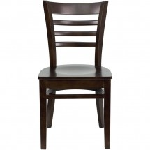 Flash Furniture XU-DGW0005LAD-WAL-GG HERCULES Series Walnut Finished Ladder Back Wooden Restaurant Chair addl-3