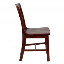 Flash Furniture XU-DG-W0006-MAH-GG HERCULES Series Mahogany Finished School House Back Wooden Restaurant Chair addl-2