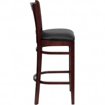Flash Furniture XU-DGW0008BARVRT-MAH-BLKV-GG HERCULES Series Mahogany Finished Vertical Slat Back Wooden Restaurant Bar Stool - Black Vinyl Seat addl-2