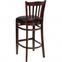 Flash Furniture XU-DGW0008BARVRT-MAH-BLKV-GG HERCULES Series Mahogany Finished Vertical Slat Back Wooden Restaurant Bar Stool - Black Vinyl Seat addl-1