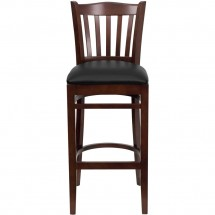 Flash Furniture XU-DGW0008BARVRT-MAH-BLKV-GG HERCULES Series Mahogany Finished Vertical Slat Back Wooden Restaurant Bar Stool - Black Vinyl Seat addl-3