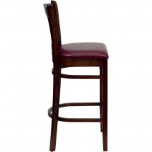 Flash Furniture XU-DGW0008BARVRT-MAH-BURV-GG HERCULES Series Mahogany Finished Vertical Slat Back Wooden Restaurant Bar Stool - Burgundy Vinyl Seat addl-2