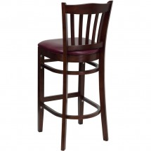Flash Furniture XU-DGW0008BARVRT-MAH-BURV-GG HERCULES Series Mahogany Finished Vertical Slat Back Wooden Restaurant Bar Stool - Burgundy Vinyl Seat addl-1