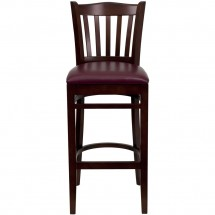 Flash Furniture XU-DGW0008BARVRT-MAH-BURV-GG HERCULES Series Mahogany Finished Vertical Slat Back Wooden Restaurant Bar Stool - Burgundy Vinyl Seat addl-3
