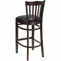 Flash Furniture XU-DGW0008BARVRT-WAL-BLKV-GG HERCULES Series Walnut Finished Vertical Slat Back Wooden Restaurant Bar Stool - Black Vinyl Seat addl-1