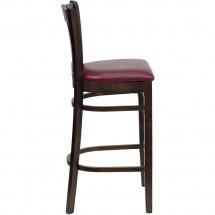 Flash Furniture XU-DGW0008BARVRT-WAL-BURV-GG HERCULES Series Walnut Finished Vertical Slat Back Wooden Restaurant Bar Stool - Burgundy Vinyl Seat addl-2