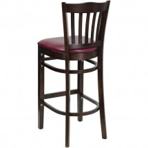 Flash Furniture XU-DGW0008BARVRT-WAL-BURV-GG HERCULES Series Walnut Finished Vertical Slat Back Wooden Restaurant Bar Stool - Burgundy Vinyl Seat addl-1