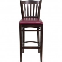 Flash Furniture XU-DGW0008BARVRT-WAL-BURV-GG HERCULES Series Walnut Finished Vertical Slat Back Wooden Restaurant Bar Stool - Burgundy Vinyl Seat addl-3