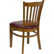 Flash Furniture XU-DGW0008VRT-CHY-BURV-GG HERCULES Series Cherry Finished Vertical Slat Back Wooden Restaurant Chair - Burgundy Vinyl Seat addl-2