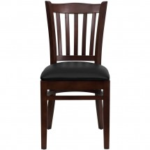 Flash Furniture XU-DGW0008VRT-MAH-BLKV-GG HERCULES Series Mahogany Finished Vertical Slat Back Wooden Restaurant Chair - Black Vinyl Seat addl-3