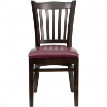 Flash Furniture XU-DGW0008VRT-WAL-BURV-GG HERCULES Series Walnut Finished Vertical Slat Back Wooden Restaurant Chair - Burgundy Vinyl Seat addl-3