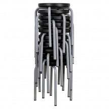 Flash Furniture YK01B-GG Stackable Stool with Black Seat and Silver Powder Coated Frame addl-1