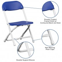 Flash Furniture Y-KID-BL-GG Kids Blue Plastic Folding Chair addl-4