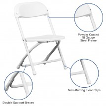 Flash Furniture Y-KID-WH-GG Kids White Plastic Folding Chair addl-4