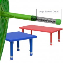 Flash Furniture YU-YCX-001-2-RECT-TBL-GREEN-GG Height Adjustable Rectangular Green Plastic Kids Activity Table 24 x 48 addl-3