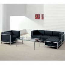 Flash Furniture ZB-IMAG-LS-GG HERCULES Imagination Series Contemporary Black Leather Love Seat with Encasing Frame addl-1