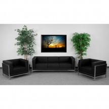 Flash Furniture ZB-IMAG-SET3-GG HERCULES Imagination Series Black Leather Sofa and Chair Set addl-3