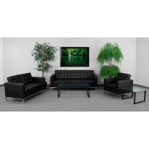 Flash Furniture ZB-Lacey-831-2-LS-BK-GG HERCULES Lacey Series Contemporary Black Leather Love Seat with Stainless Steel Frame addl-2