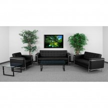 Flash Furniture ZB-LESLEY-8090-LS-BK-GG HERCULES Lesley Series Contemporary Black Leather Love Seat with Encasing Frame addl-2