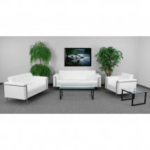 Flash Furniture ZB-LESLEY-8090-LS-WH-GG HERCULES Lesley Series Contemporary White Leather Love Seat with Encasing Frame addl-2