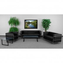 Flash Furniture ZB-REGAL-810-3-SOFA-BK-GG HERCULES Regal Series Contemporary Black Leather Sofa with Encasing Frame addl-1