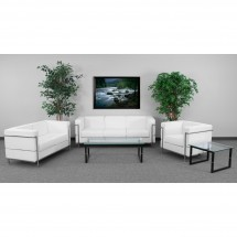 Flash Furniture ZB-REGAL-810-3-SOFA-WH-GG HERCULES Regal Series Contemporary White Leather Sofa with Encasing Frame addl-1