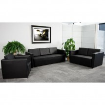 Flash Furniture ZB-TRINITY-8094-SET-BK-GG HERCULES Trinity Series Black Reception Set addl-3