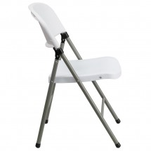 Flash Furniture DAD-YCD-70-WH-GG HERCULES Series 330 lb. Capacity White Plastic Folding Chair with Gray Frame addl-4