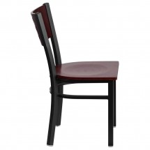 Flash Furniture XU-DG-60117-MAH-MTL-GG HERCULES Series Black Decorative Cutout Back Metal Restaurant Chair, Mahogany Wood Back and Seat addl-4