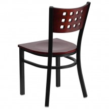 Flash Furniture XU-DG-60117-MAH-MTL-GG HERCULES Series Black Decorative Cutout Back Metal Restaurant Chair, Mahogany Wood Back and Seat addl-1