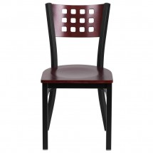 Flash Furniture XU-DG-60117-MAH-MTL-GG HERCULES Series Black Decorative Cutout Back Metal Restaurant Chair, Mahogany Wood Back and Seat addl-2