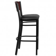 Flash Furniture XU-DG-60515-MAH-BAR-BLKV-GG HERCULES Black Decorative 4 Square Back Metal Restaurant Barstool, Mahogany Wood Back, Black Vinyl Seat  addl-4