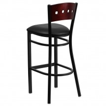Flash Furniture XU-DG-60515-MAH-BAR-BLKV-GG HERCULES Black Decorative 4 Square Back Metal Restaurant Barstool, Mahogany Wood Back, Black Vinyl Seat  addl-1