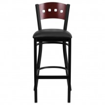 Flash Furniture XU-DG-60515-MAH-BAR-BLKV-GG HERCULES Black Decorative 4 Square Back Metal Restaurant Barstool, Mahogany Wood Back, Black Vinyl Seat  addl-2
