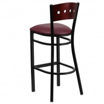 Flash Furniture XU-DG-60515-MAH-BAR-BURV-GG HERCULES Black Decorative 4 Square Back Metal Restaurant Barstool, Mahogany Wood Back, Burgundy Vinyl Seat addl-1