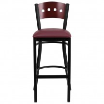 Flash Furniture XU-DG-60515-MAH-BAR-BURV-GG HERCULES Black Decorative 4 Square Back Metal Restaurant Barstool, Mahogany Wood Back, Burgundy Vinyl Seat addl-2