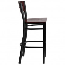 Flash Furniture XU-DG-60515-MAH-BAR-MTL-GG HERCULES Series Black Decorative 4 Square Back Metal Restaurant Barstool, Mahogany Wood Back and Seat addl-4