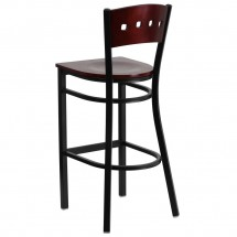 Flash Furniture XU-DG-60515-MAH-BAR-MTL-GG HERCULES Series Black Decorative 4 Square Back Metal Restaurant Barstool, Mahogany Wood Back and Seat addl-1