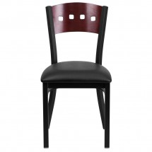 Flash Furniture XU-DG-6Y1B-MAH-BLKV-GG HERCULES Series Black Decorative 4 Square Back Metal Restaurant Chair, Mahogany Wood Back, Black Vinyl Seat addl-2